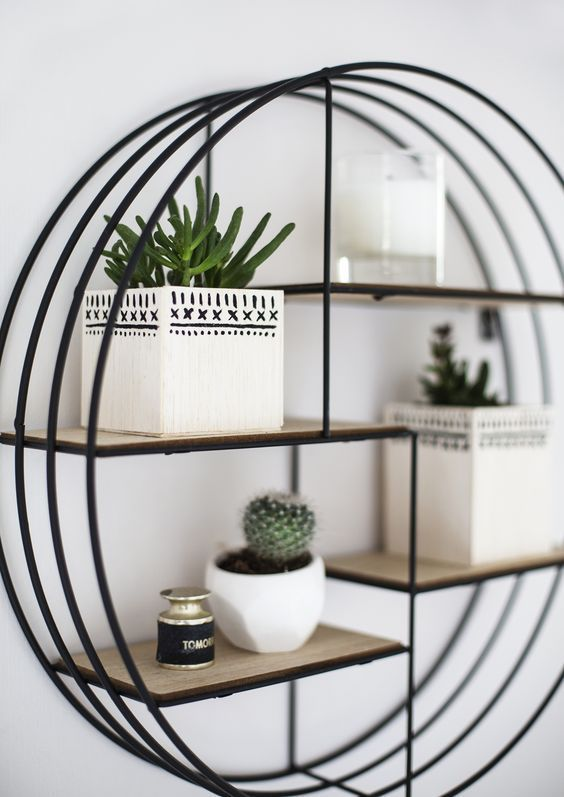Apartment Decor, Round Wall Shelf Decor Ideas