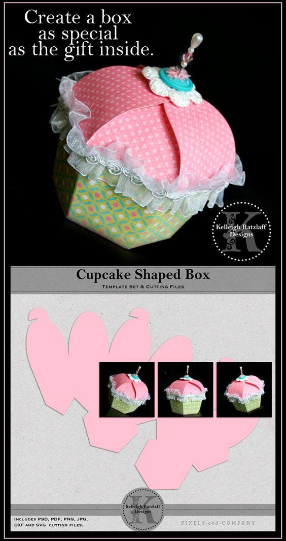 Cupcake Template Design : Box templates, Templates and Papercraft on Pinterest
