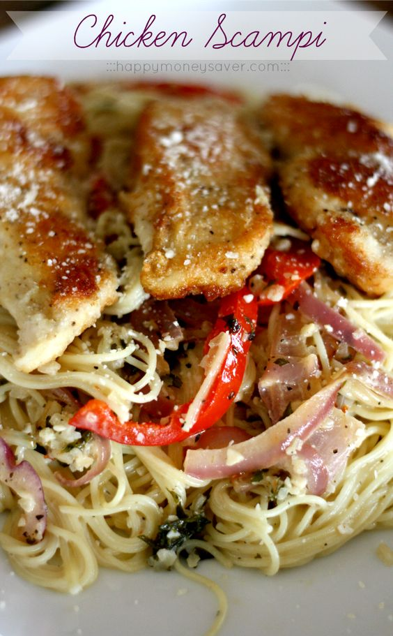 Chicken Scampi Recipe- Really tastes like the Olive Garden's! Substitute I used for heavy cream: 1/3 cup melted butter, 3/4 cup milk, 2 Tbsp flour. So good!