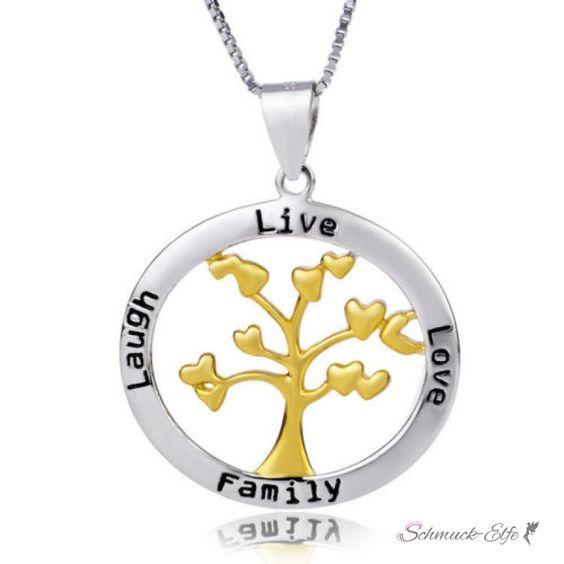Anhänger Amulett Lebensbaum mit Herzen LIVE,LOVE,LAUGH,FAMILY au