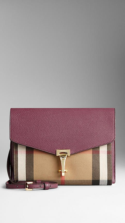 Elderberry Small Leather and House Check Crossbody Bag - Image 1