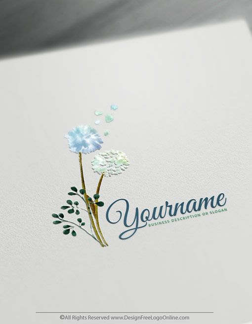 Create A Dandelion Logo For Free Watercolor Flowers Logo Design