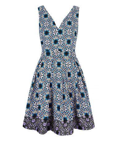 Look what I found on #zulily! Blue Border V-Neck Dress #zulilyfinds
