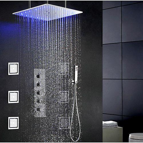 Shower Faucet Contemporary Modern Chrome Shower System Ceramic