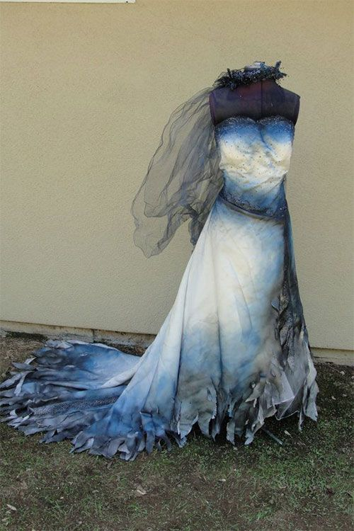 Hand dyed and painted Corpse bride wedding gown Labled as a size 22