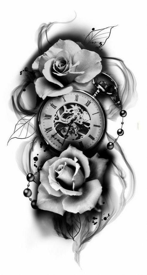 Sketch Sleevetattoos Clock Tattoo Design Clock Tattoo Clock And Rose Tattoo