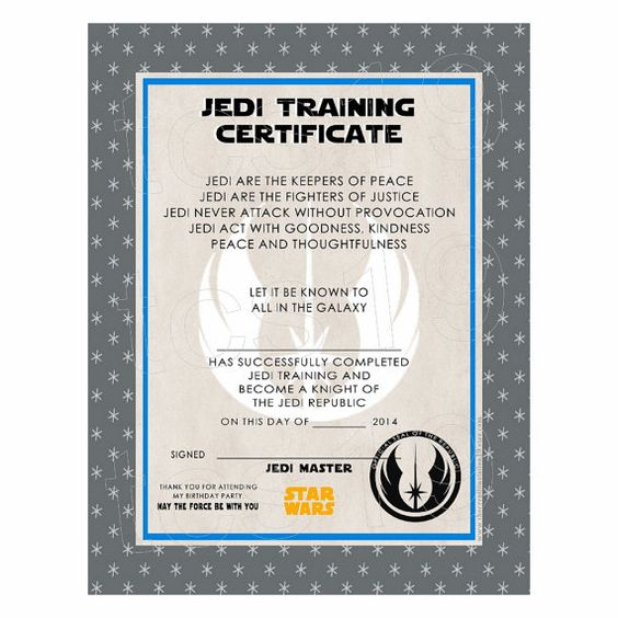 Training certificate training and galaxies on pinterest for Star wars jedi certificate template free