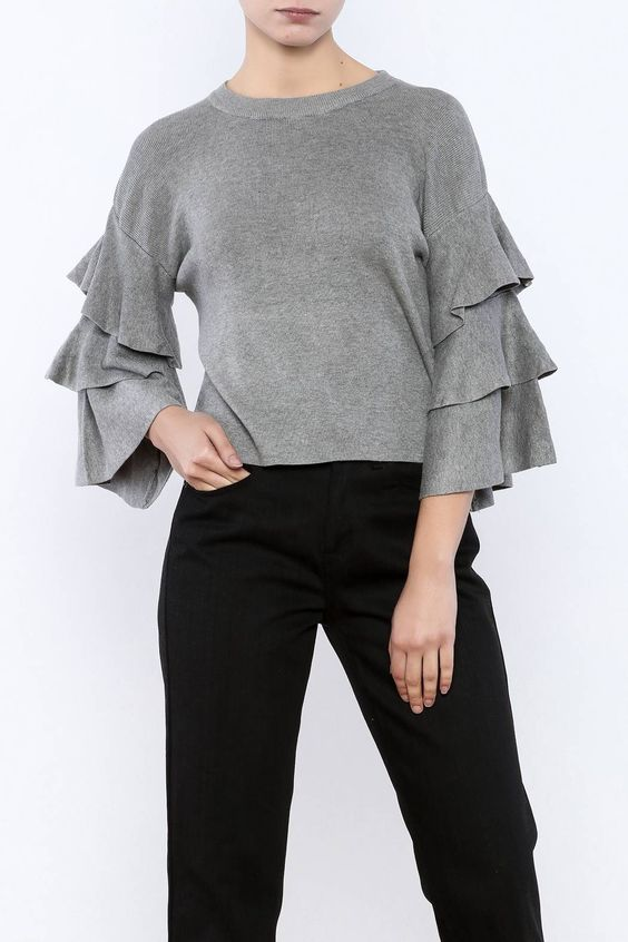 Grey cropped boxy sweater with a crew neck and 3/4 tiered sleeves.   Cropped Ruffle Sleeve Sweater by cq by cq. Clothing - Sweaters - Crew & Scoop Neck New York City Manhattan, New York City