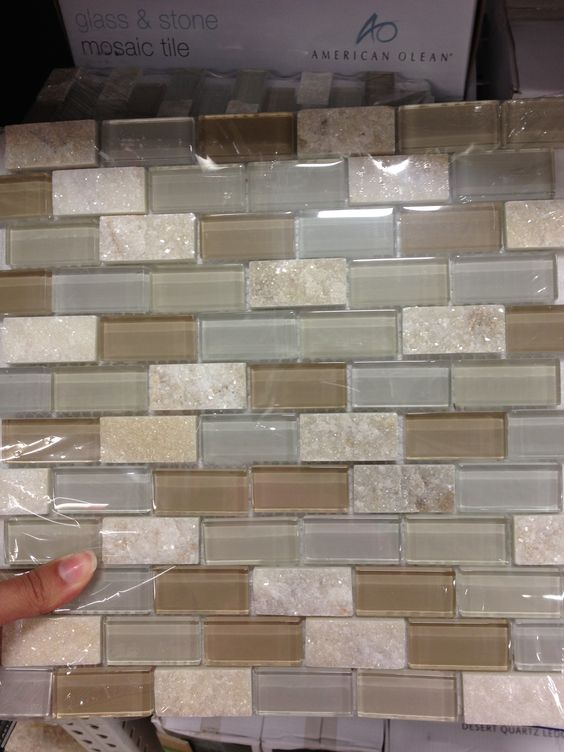 Kitchen backsplash tile at lowes with some sparkle for Lowes backsplash