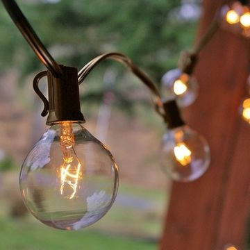 Clear Globe String Lights White Wire : Globe String Lights, 2 Inch Bulbs, 11 Foot Brown Wire C7 Strand, Clear Lighting, Wedding and ...