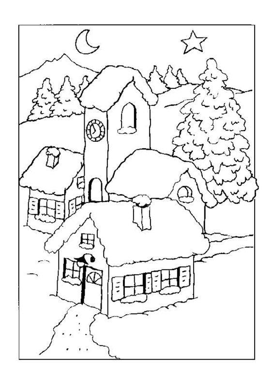 Maisons de no l et village sous la neige colorier - Dessin maison a colorier ...