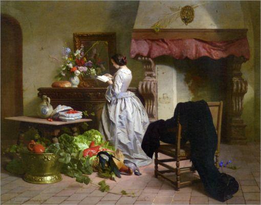 La Lectura. David Émile Joseph de Noter (Bélgica, 1818-1892)
