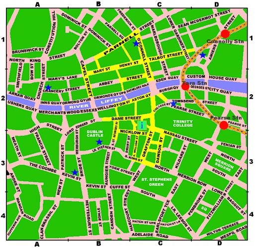 Dublin City Centre Map Red Train Station Yellow Shopping Street – Map of London City Centre
