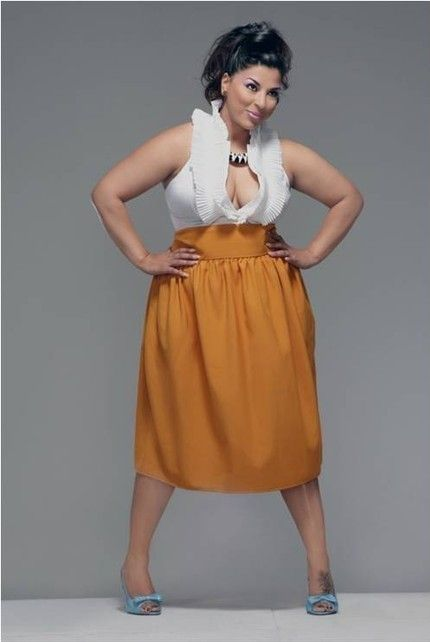 JIBRI Plus Size High Waist Flare Skirt, $100