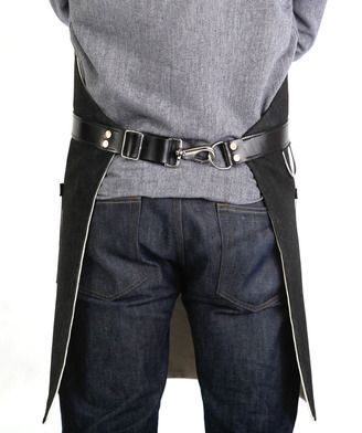 Hardmill-Black-Denim-Apron...do this instead of tie-back on my racing/tire-grinding aprons??: