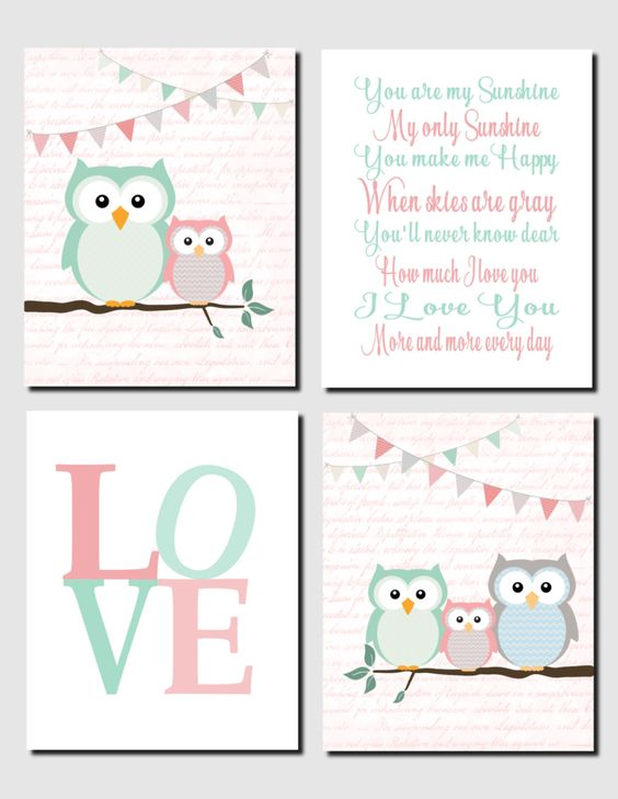 Baby Girl Nursery Art Mint Coral Owl Wall Art Kids Wall Art Girls Room You are My Sunshine Love Owl Theme Nursery Set of 4, Art Prints by vtdesigns on Etsy: