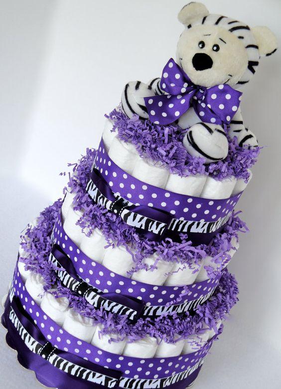 Diaper Cake  Purple & Black Zebra Baby Girl by DomesticDivaDesignz, $85.00