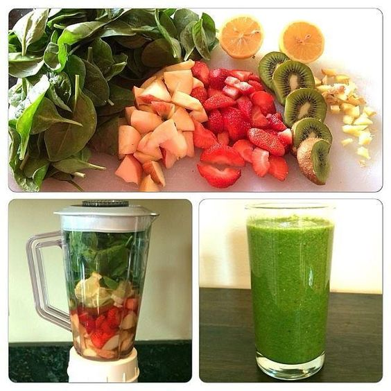 This drink is also alkaline and loaded with ginger to help reduce inflammation and kiwi to improve breathing and lung Try it! 3 handfuls of spinach, 1 apple, 1 kiwi 1 lemon with 1/4 lemon peel, 1 thumb size piece of ginger and 5 strawberries, 1cup of water & 5 ice cubes