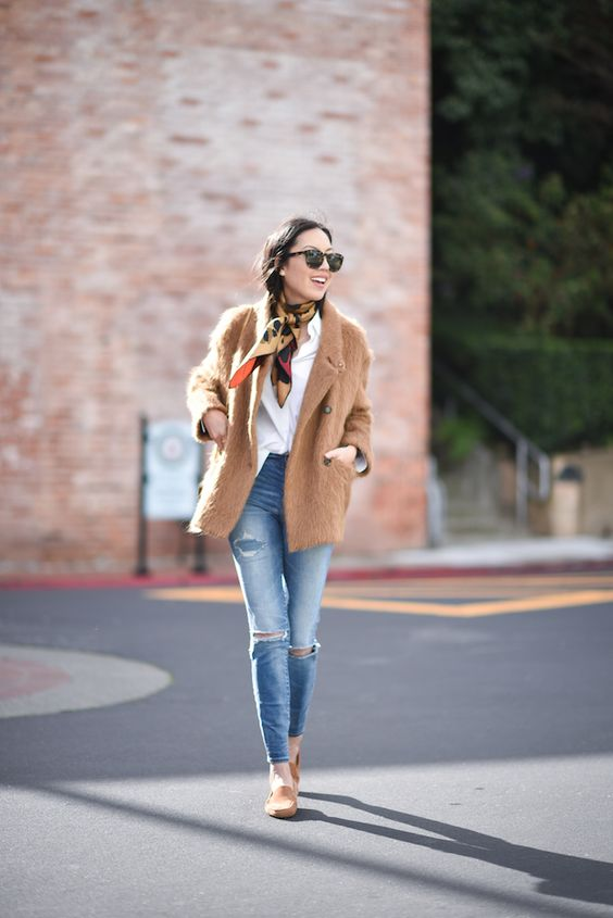 9to5 chic camel jacket, scarf, white shirt and jeans