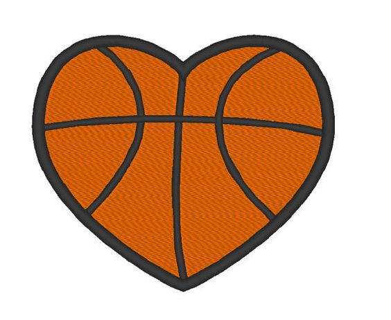 Basketball Heart Love Embroidery Machine Design by OCDEmbroidery