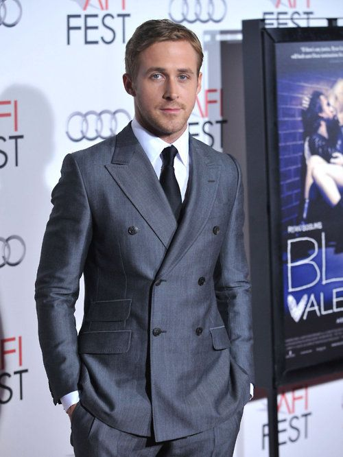 who dresses ryan gosling? double breasted suits never look like