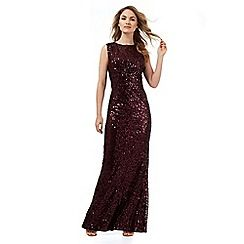No. 1 Jenny Packham - Dark red sequin glitter maxi dress: