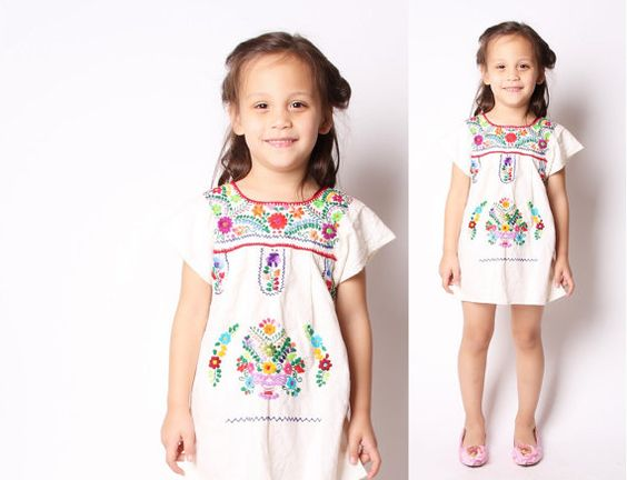 Children&39s Vintage 60s Girls Rainbow Embroidered Ethnic Mexican ...