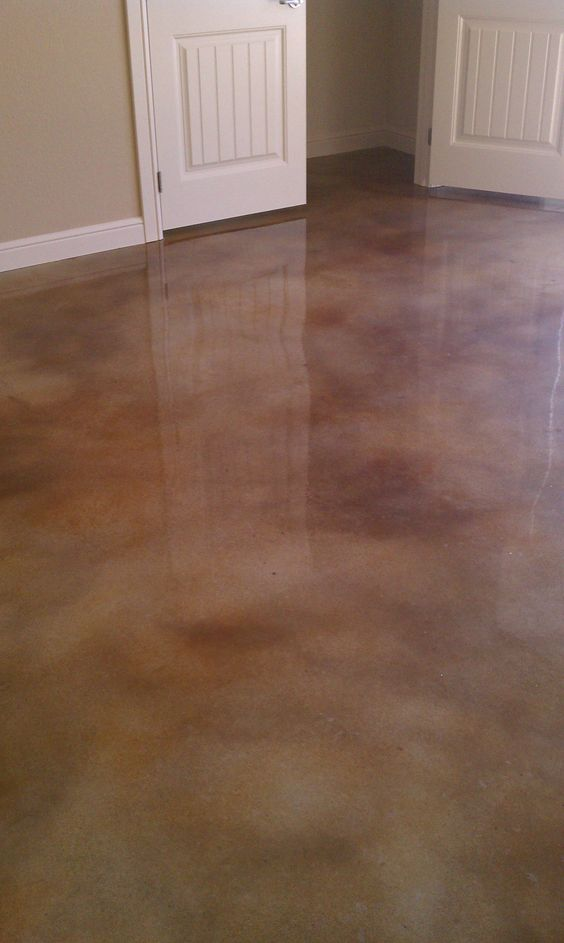 Stained concrete converting my garage into an indoor for How to clean stained concrete garage floors