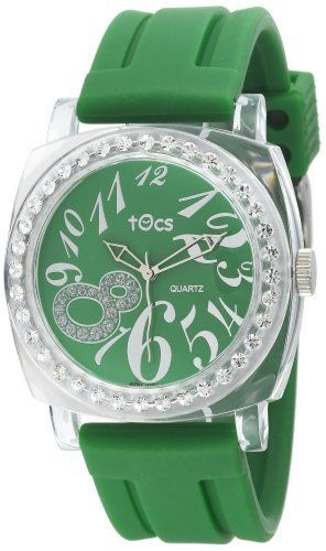 Tocs Women's 40317 Analog Round Glitz Green Tea Watch Tocs. $65.00. Three-hand Japanese quartz analog movement. Green glitz poly-plastic impact resistant case. Crystal embellished bezel. Water-resistant to 99 feet (30 M). Water resistant silicon resin strap with buckle clasp