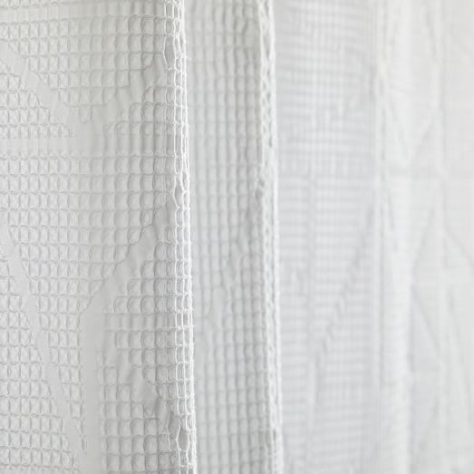 Organic Triangle Waffle Shower Curtain White White Shower