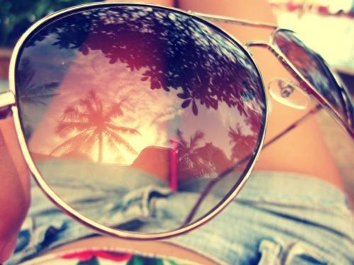 Palm trees and sunglasses.