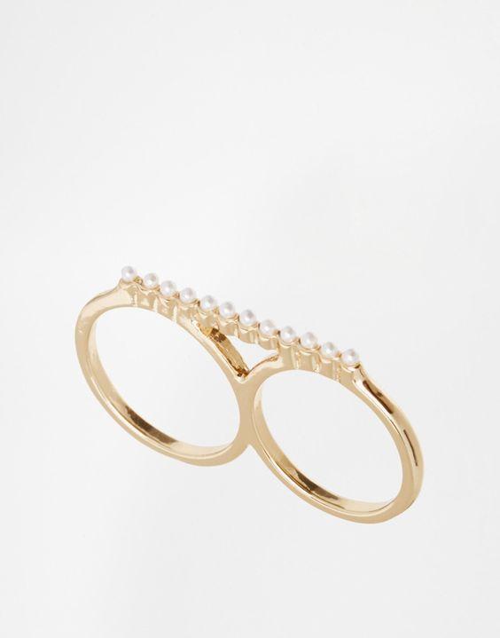 Ring von ASOS Collection goldfarben Miniperlen glattes, schmales Doppelringband 90% Zink, 10% Acryl