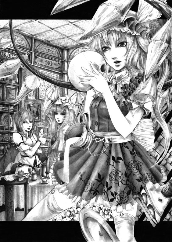 3girls cup flandre_scarlet floral_print hane_(azelye) letterboxed monochrome multiple_girls patchouli_knowledge plate skull teacup thigh-highs touhou wings zettai_ryouiki