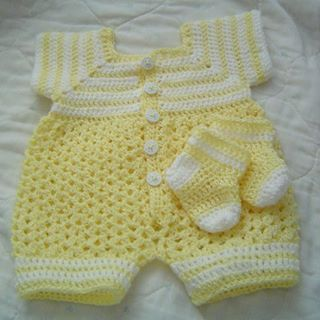 0064 Baby Boys Yellow Sunshine 2PC Pattern Crochet Romper Set by CarussDesignZ