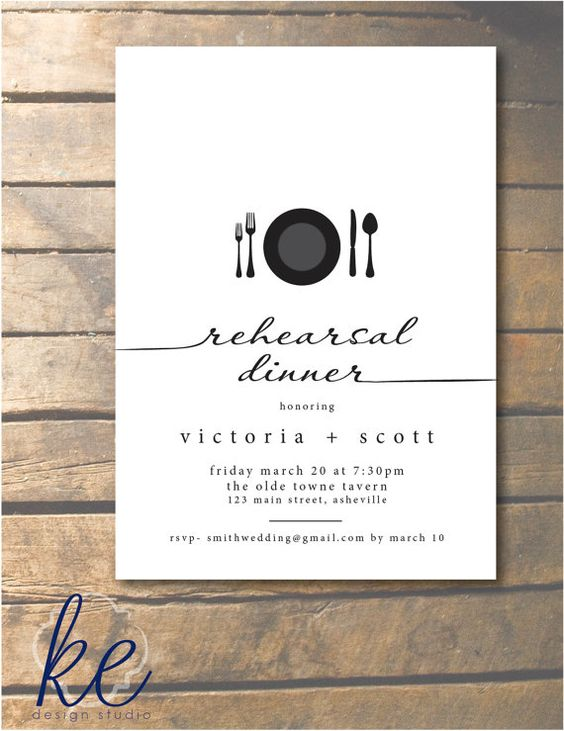 Script Rehearsal Dinner Invitation with place setting 5x7 - 24 invitations