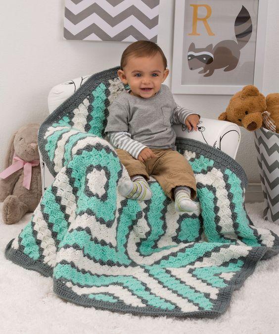 Baby Diamonds Blanket Free Crochet Pattern from Red Heart Yarns ...