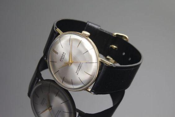 Herrenarmbanduhr, 585er Gelbgold, Anker, um 1960