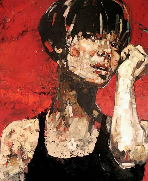 Artist: Anna Bocek, oil on canvas, 2007 {contemporary figurative #expressionist art female head red woman face portrait grunge painting} www.annabocek.com