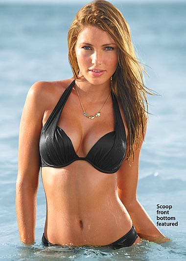 """The """"Diva"""" Mega Bra and Low Rise or Scoop Front Moderate Bottom bikini in black beauty"""