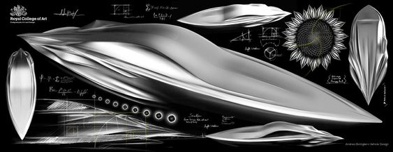 Sketches of the Water Living Form speed yacht conceptual sculpture by Andrea Bottigliero