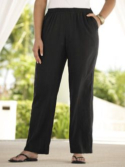 Plus Size Womens Clothing - Regular-length Tropi-cool Cotton Gauze Pants