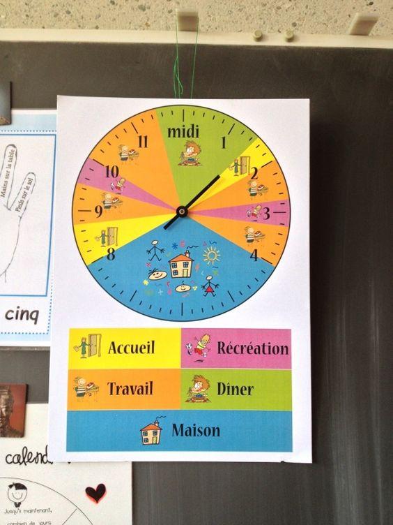 """version de Micky """"Voici une montre des temps scolaires. En effet avec le PER il est proposé de fabriquer cette montre afin que les élèves puissent avoir une notion du temps qui passe et de voir ..."""