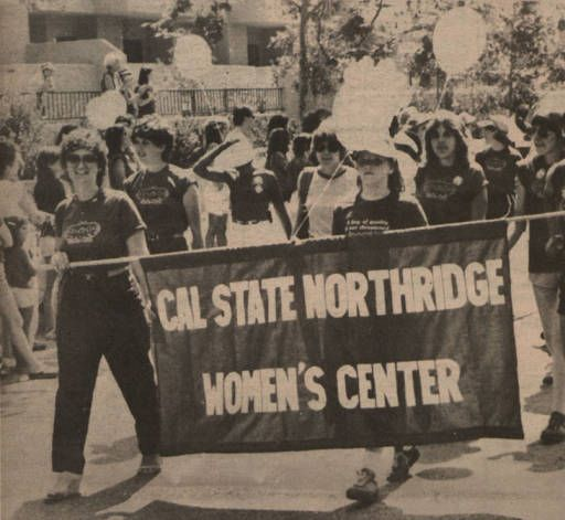 """Daily Sundial - """"March for Equality"""" California State University, Northridge Women's Center, September 1, 1981. Members of CSUN's Women's Center joined in a massive march and rally, calling for the passage of the Equal Rights Amendment. A delegation from CSUN's Young Republicans also took part in the activities, which included a 10-kilometer walk and speeches by Betty Ford and Governor Edmund G. Brown Jr. CSUN University Digital Archives."""