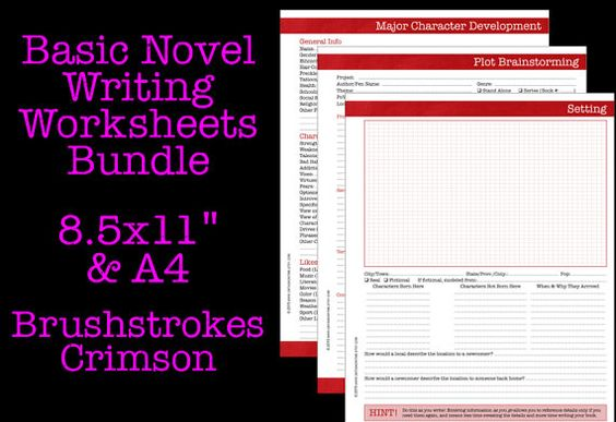 Basic Novel Writing Worksheets Bundle by OnTaskOnTime on Etsy – Novel Writing Worksheets