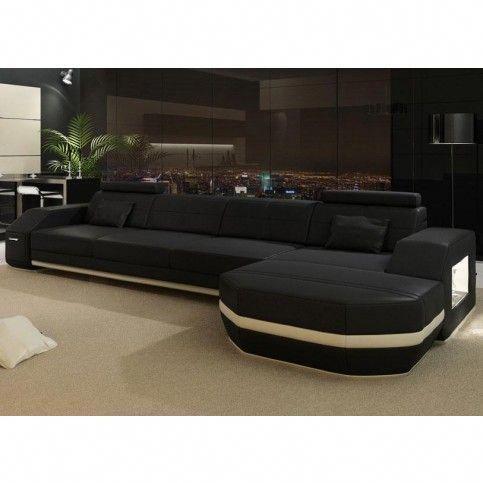 Monroe Modern Black Off White Leather Sectional Sofa Rsf Modern Leather Sectional Sofas Leather Sectional Sofa Best Leather Sofa