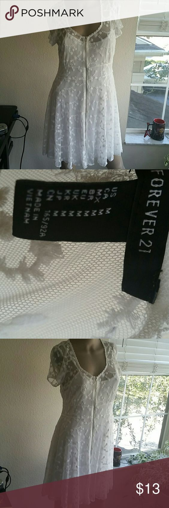 Forever21  white lace dress size M White  lace dress and slip from forever21 wore 1x Dresses Mini