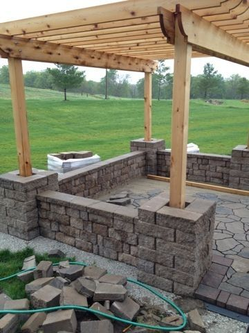 How to build a seat wall and pergola columns by jerri for Pergola post ideas