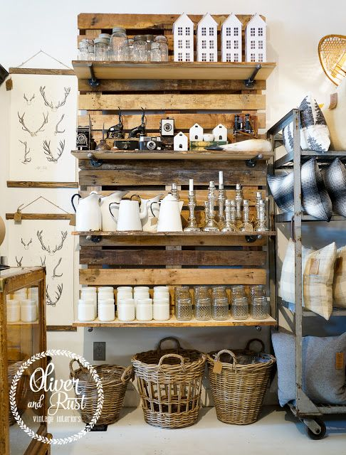 Awesome pallet shelving and retail on pinterest for Home decor outlet stores online