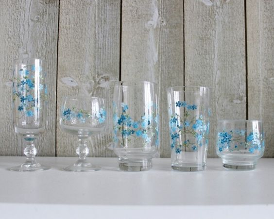 Arcopal Veronica Drinking Glasses With Flowers - Champagne Flute, Wine & Water Glass & Tumblers - Set Of 5 - French Kitchen Vintage by OhlalaCamille on Gourmly