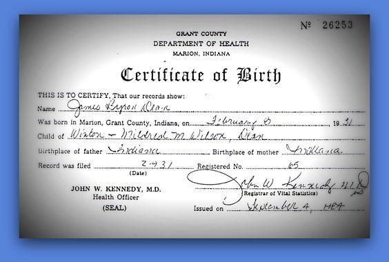 #JamesDean Jim's birth certificate~